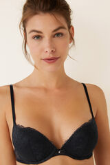 Womensecret OPTIMISTIC Sujetador súper push up encaje y plumetti negro