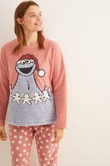 Womensecret Pijama comprido polar Monstro das Bolachas em rosa impressão
