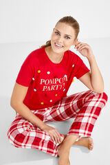 Womensecret Camiseta manga corta pompones rojo