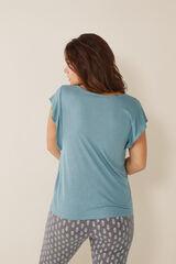 Womensecret Camiseta con lino manga corta azul
