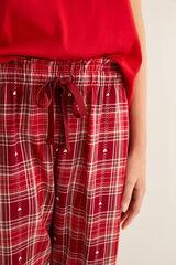 Womensecret Pantalón largo de pijama franela corazón estampado