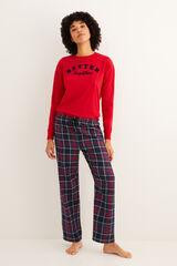 Womensecret Pantalón largo de pijama estampado cuadros navy estampado