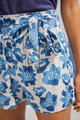 Womensecret Pantalón corto estampado tropical azul azul