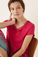Womensecret Camiseta manga corta detalle encaje rojo