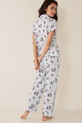 Womensecret Pijama largo camisero Mickey  gris