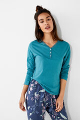 Womensecret Camiseta panadera manga larga azul
