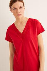 Womensecret Camiseta detalle cuello burdeos