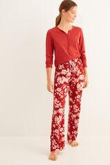 Womensecret Pantalón largo de pijama estampado floral granate estampado
