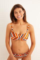 Womensecret Top bikini bandeau rayas multicolor rojo