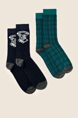 Womensecret Pack de 2 calcetines medios hombre azul