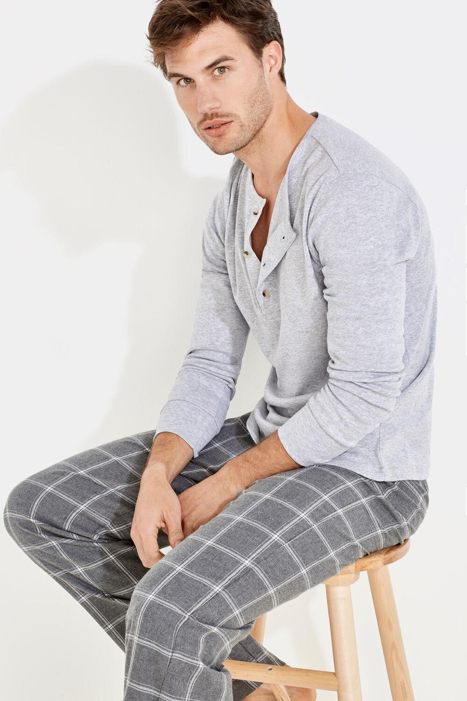 2e3f35a712 Womensecret Pijama para hombre de algodón de cuadros gris