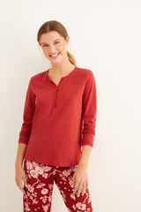 Womensecret Camiseta panadera burdeos manga larga rojo