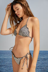 Womensecret Top bikini triangular reversible flores blanco