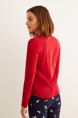 Womensecret Camiseta panadera manga larga rojo burdeos