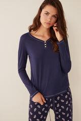 Womensecret Camiseta cuello panadero azul