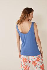 Womensecret Camiseta volantes lisa azul