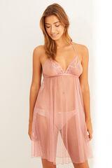 Womensecret Camisa de dormir curta plumeti e de renda rosa rosa
