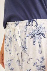 Womensecret Pantalón largo de pijama estampado  azul