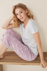 Womensecret Pantalón pijama Capri flores rosa