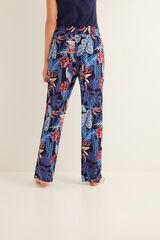 Womensecret Pantalón pijama largo estampado azul
