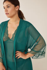 Womensecret Roupão comprido mesh, plumeti e renda verde