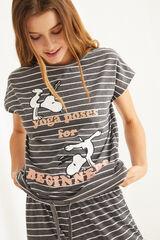 Womensecret Pijama rayas estampado Snoopy gris