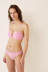 Womensecret Sujetador push up encaje y tiras rosa