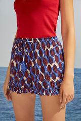 Womensecret Pantalón corto fluido estampado tropical azul blanco