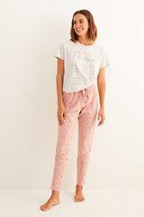 Womensecret Pantalón largo de pijama estampado rosa rosa