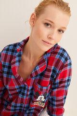 Womensecret Camisa de dormir de manga comprida com xadrez branco