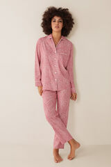 Womensecret Pijama largo camisero flores + bolsa tela estampado