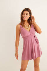 Womensecret Vestido curto cruzado rosa
