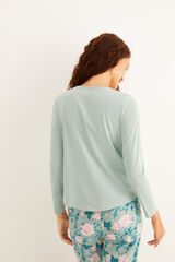 Womensecret Camiseta panadera verde claro manga larga algodón verde