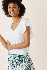 Womensecret Camiseta manga corta lisa beige