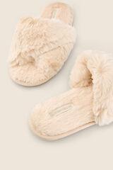Womensecret Zapatillas casa efecto peluche blanco