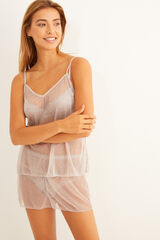 Womensecret Pijama corto plisado crudo gris