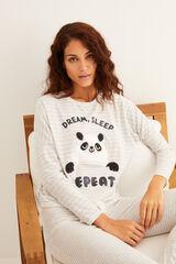 Womensecret Pijama comprido polar riscas panda cinzento