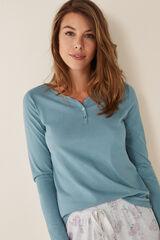 Womensecret Camiseta manga larga lisa algodón azul