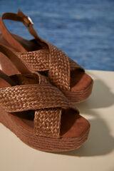 Womensecret Sandalia cruzada cuña marrón nude