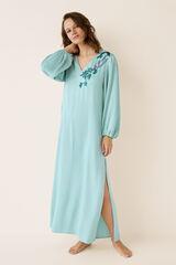 Womensecret Vestido largo satén y bordado verde