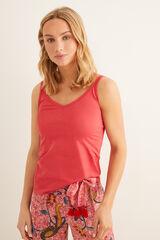 Womensecret Camiseta tirantes encaje rojo