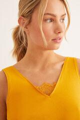 Womensecret Camiseta tirantes detalle encaje amarillo