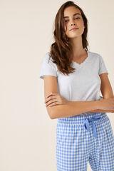 Womensecret T-shirt pijama curta lisa algodão cinzento