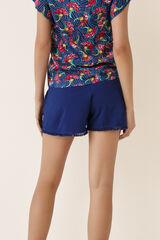 Womensecret Pantalón pijama corto liso azul