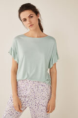 Womensecret Camiseta con lino manga corta verde