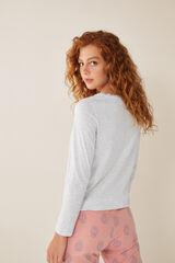 Womensecret Camiseta manga larga lisa algodón gris