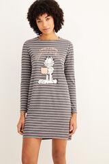 Womensecret Camisa de dormir curta riscas Garfield cinzento