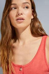 Womensecret Camiseta tirantes 100% algodón coral rojo
