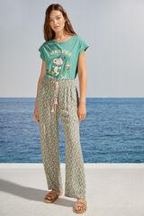 Womensecret Pantalón largo estampado floral verde