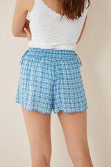 Womensecret Pantalón corto estampado cuadros verde